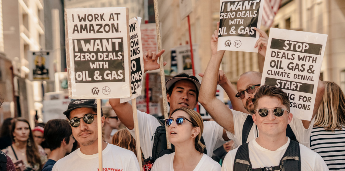 Amazon Employees for Climate Justice at the San Francisco Climate Strike in September 2019