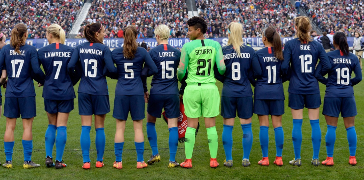 Women s Football US players celebrate National Women s Month with  inspirational names on their shirts f2ab8c697