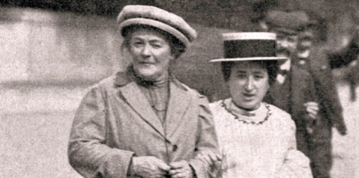 Clara Zetkin (left) with Rosa Luxemburg in 1910