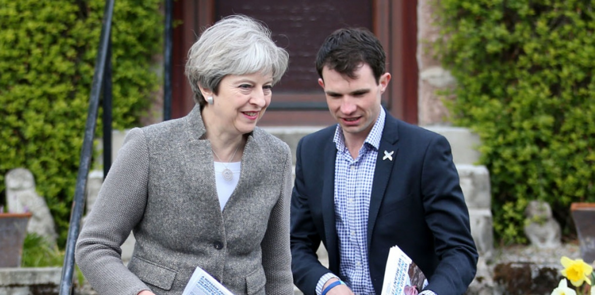 Scottish Conservative Andrew Bowie campaigning with British Prime Minister Theresa May in 2017