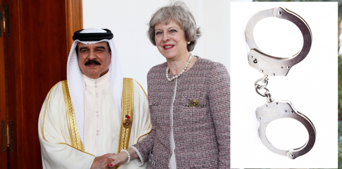 British Conservative prime Minister Theresa May shakes hands with Bahrain's king Hamad Bin Isa Khalifa in Manama, Bahrain, in 2016; and shackles for Bahraini political prisoners