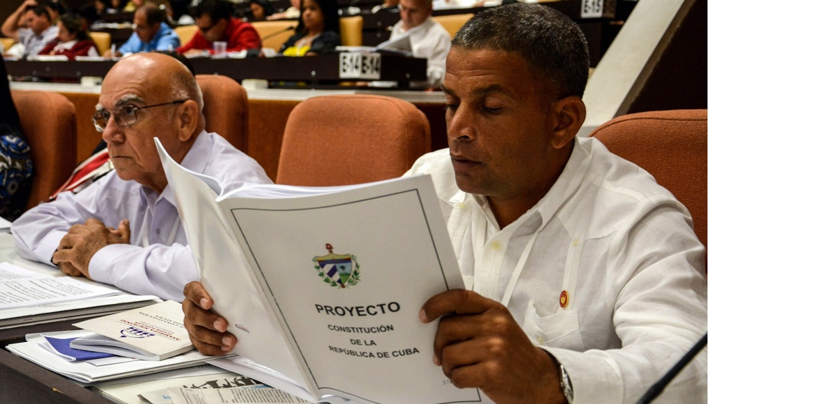 A member of Cuba's National Assembly studies the draft constitution