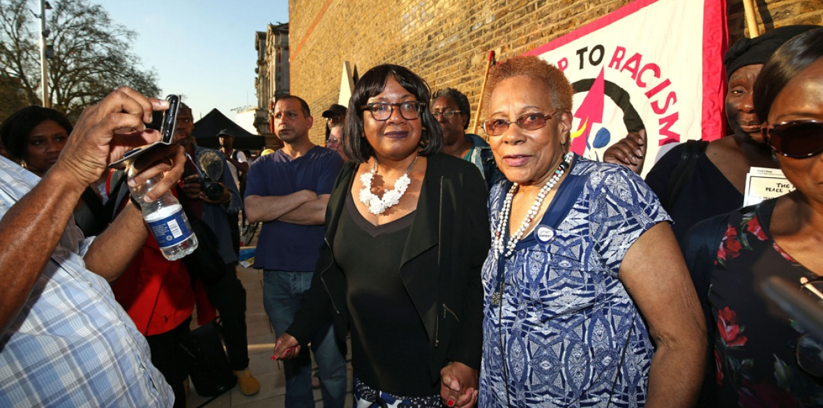 Threatened: Diane Abbott last week at a demonstration in solidarity with victims of the Tory bid to deport the Windrush generation