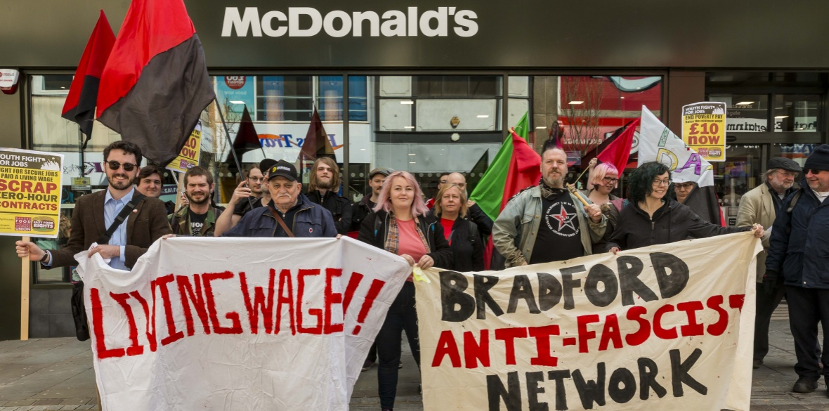 Striking McDonald's workers and supporters in England. Photo: Neil Terry Photography
