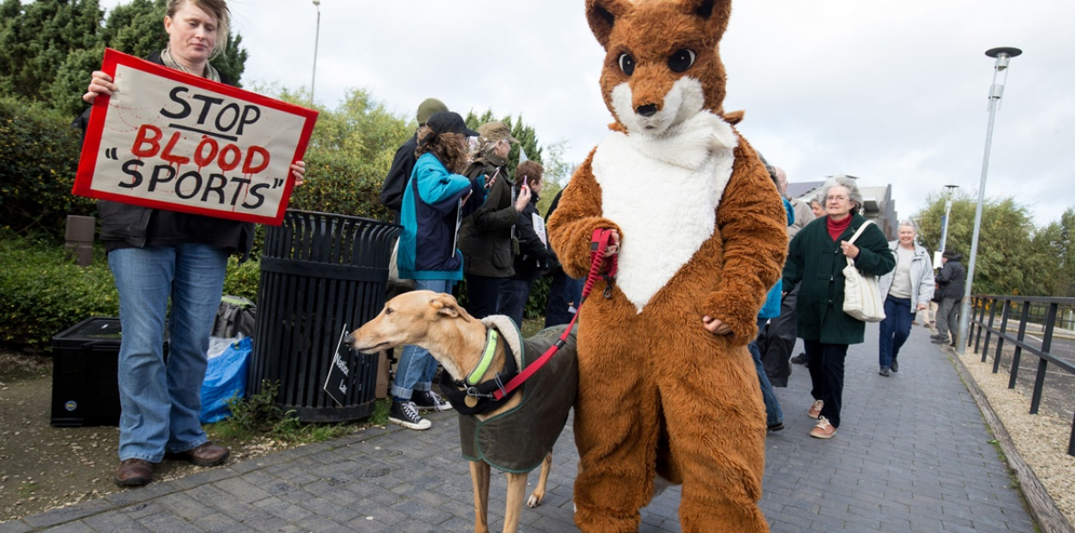 British anti-fox hunting demonstrators