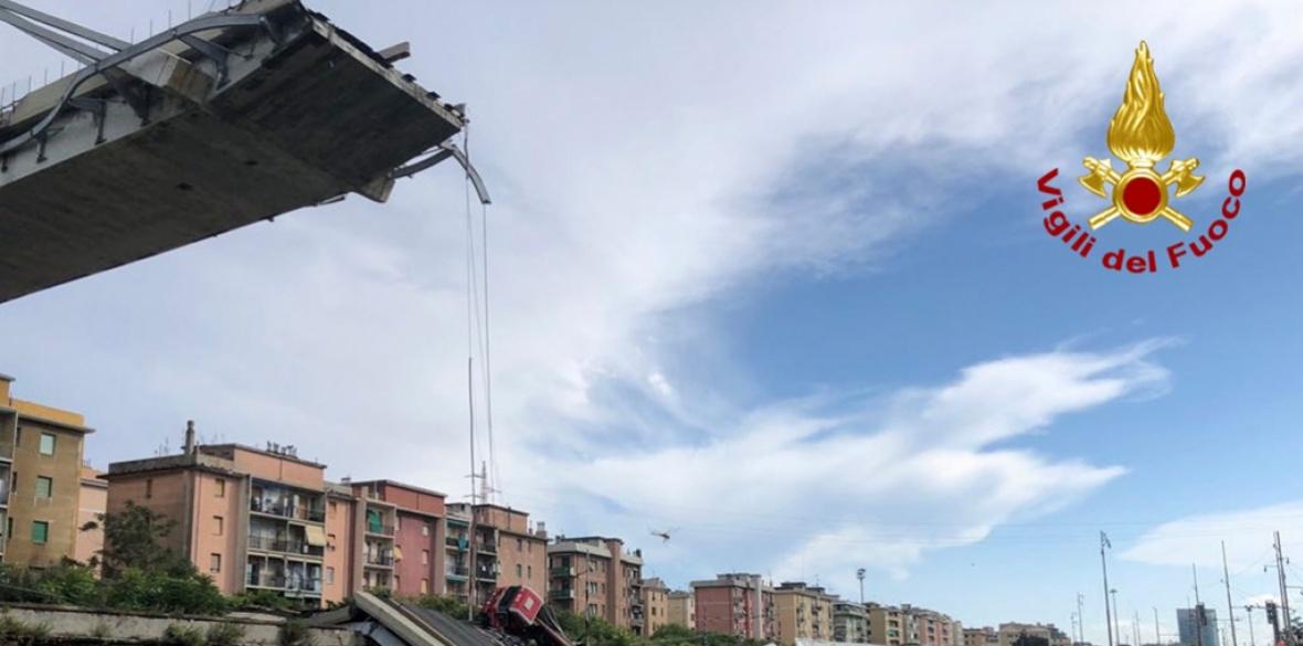 The collapsed bridge in Genoa