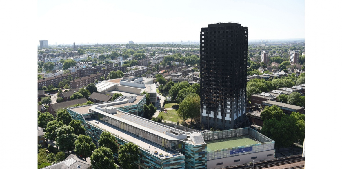 Burnt out Grenfell Tower in Kensington, London, England