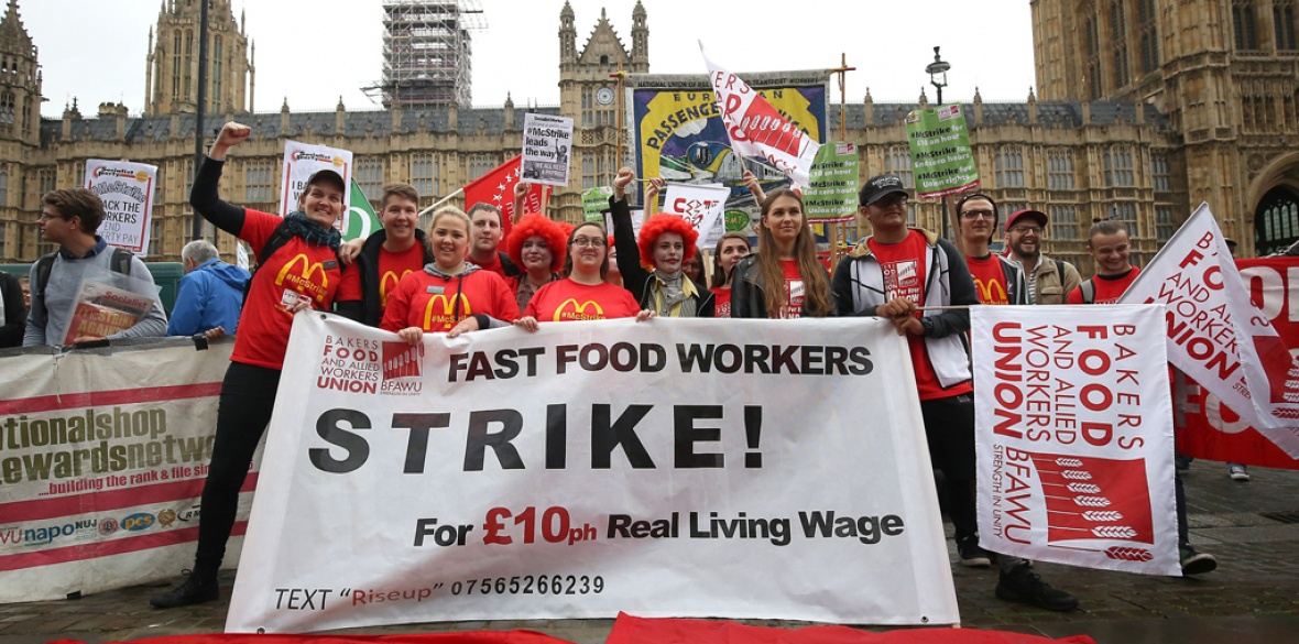 Feeling the pressure: The international challenge to the fast food giant McDonald's's tax arrangements comes hot on the heels of this strike action by British underpaid staff