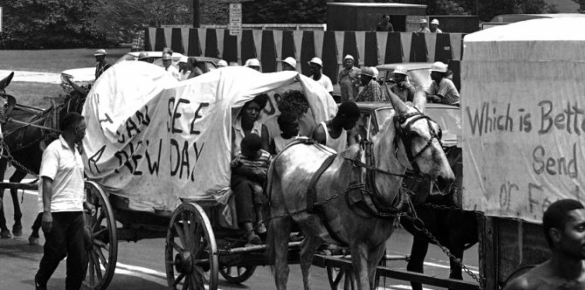 The 'mule train', part of the original Poor People's Campaign, marching through Washington on June 25 1968