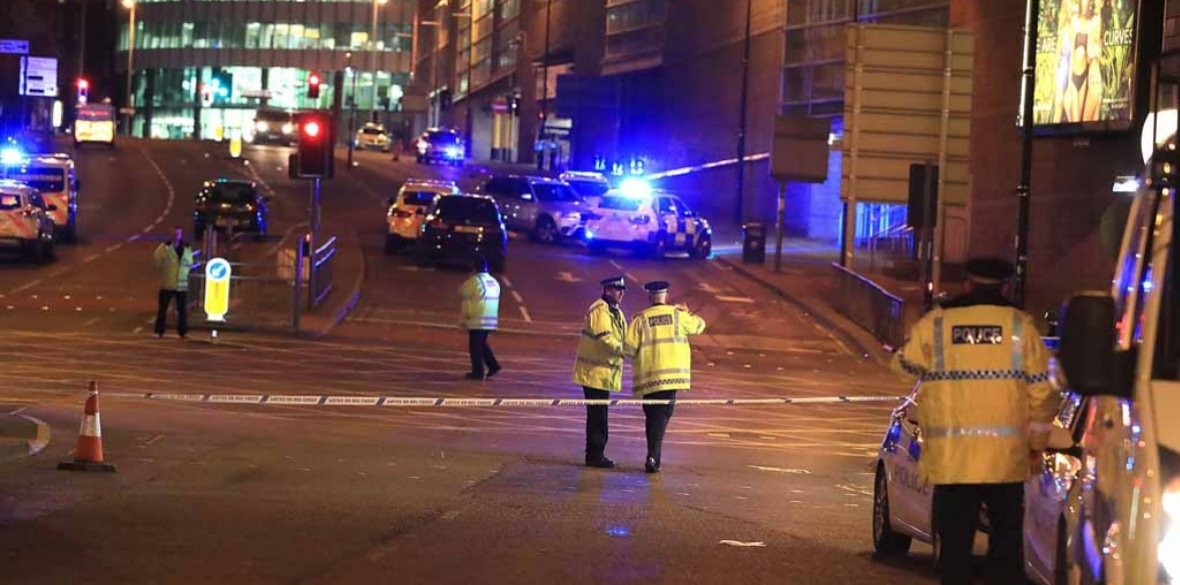 b4e4cee51000 Police in Manchester following the suicide bombing by Salman Abedi last year