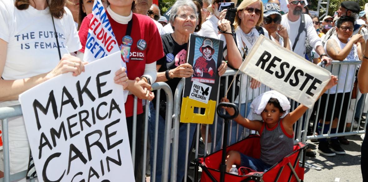 Anti-Trump demonstrators