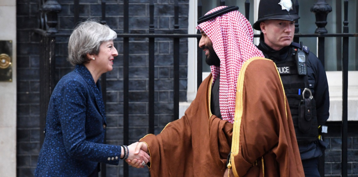 British Conservative Prime Minister Theresa May fawns on Saudi Arabian Crown Prince Mohammad Bin Salman