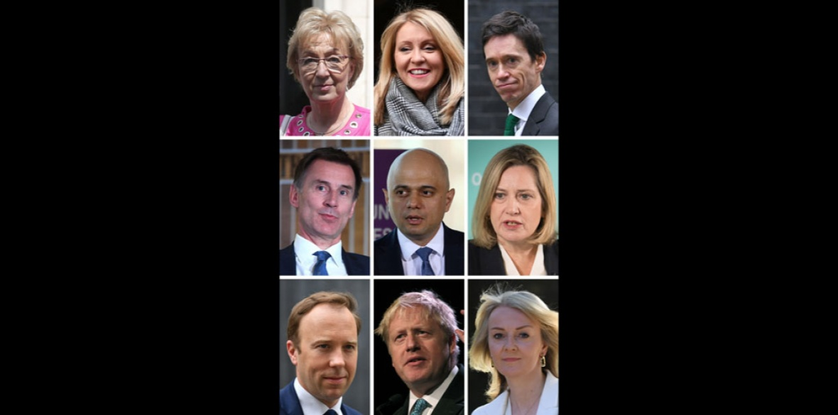 Nine of the 'terrible 10' British  Conservative party leadership candidates- left to right from top Andrea Leadsom, Esther McVey, Rory Stewart, Jeremy Hunt, Sajid Javid, Amber Rudd, Matt Hancock, Boris Johnson and Liz Truss