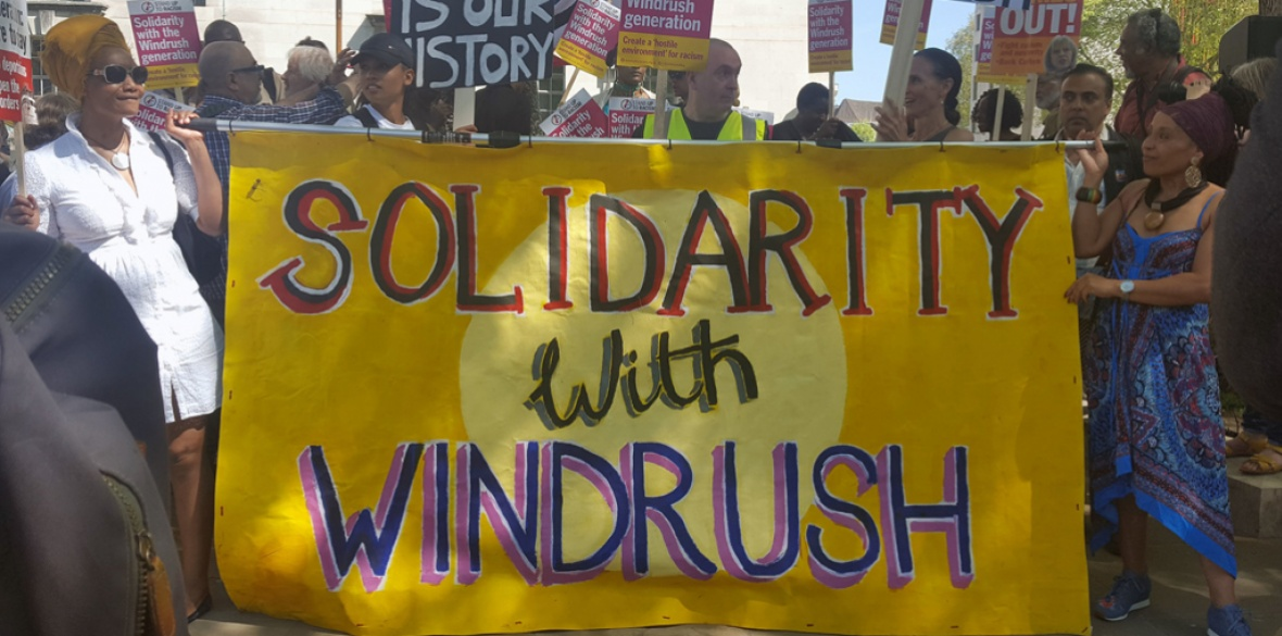 A demonstration in solidarity with the Windrush generation called by Stand Up to Racism. The government's illegal deportation of black British citizens was highlighted by UN rapporteur Tendayi Achiume
