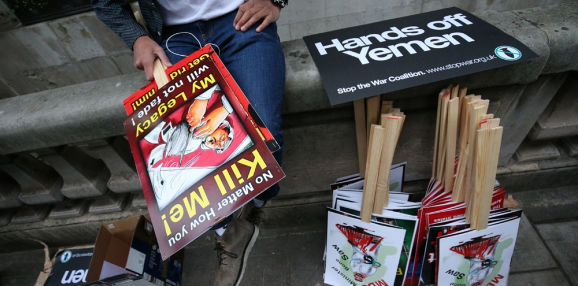 Stop the war in Yemen sign