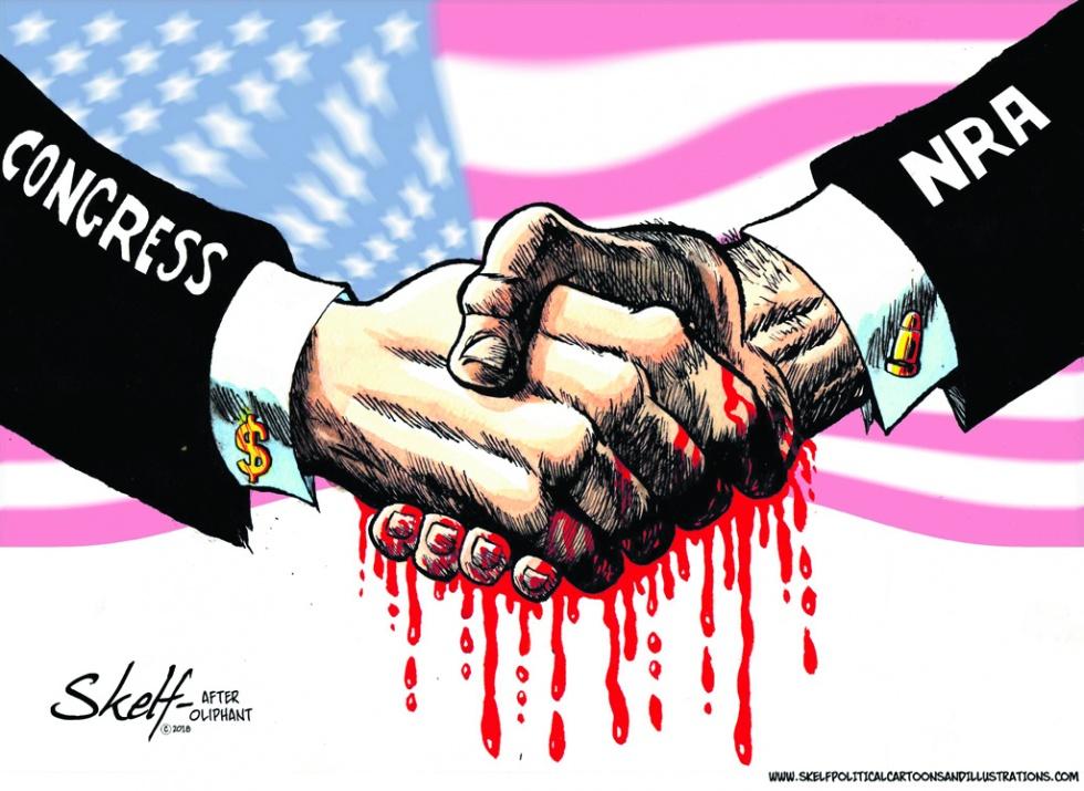 NRA and US Congress, cartoon