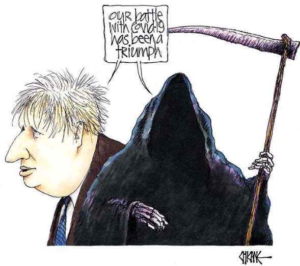 British Conservative Prime Minister Boris Johnson's coronavirus mismanagement, cartoon