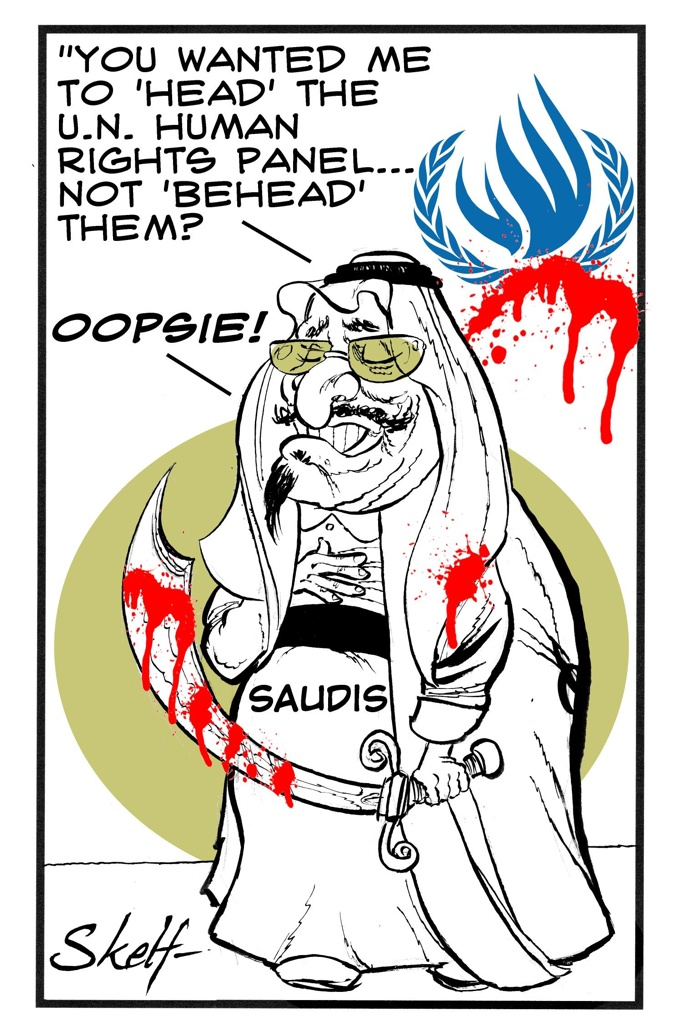 Cartoon, Saudi Arabia heads the UN human rights panel, by Skelf