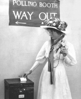 Sylvia Pankhurst casts her vote