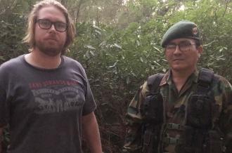 Researcher Oliver Dodd with Comandante Villa Vazquez