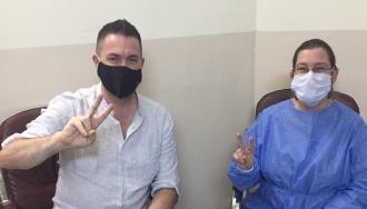 Morning Star International Editor Steve Sweeney with Dr Medya Mustafa
