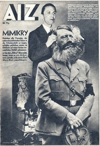 John Heartfield's classic magazine cover warned of fascists like Hitler pretending to support working-class concerns