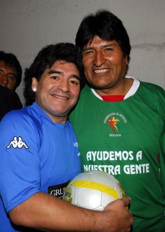 Diego Maradona with former Bolivian president Evo Morales