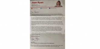 The letter sent from Joan Ryan to constituents at last year's election