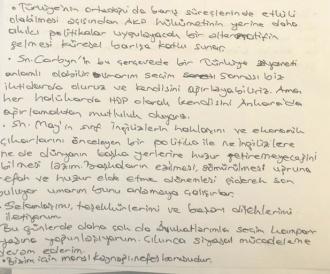 Selahattin Demirtas's hand written letter