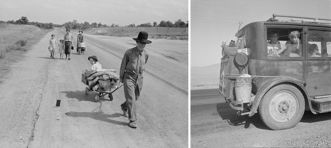 Dorothea Lange Family walking on highway - five children. Started from Idabel, Oklahoma, bound for Krebs, Oklahoma, June 1938 (left) and (right) Cars on the Road, August 1936