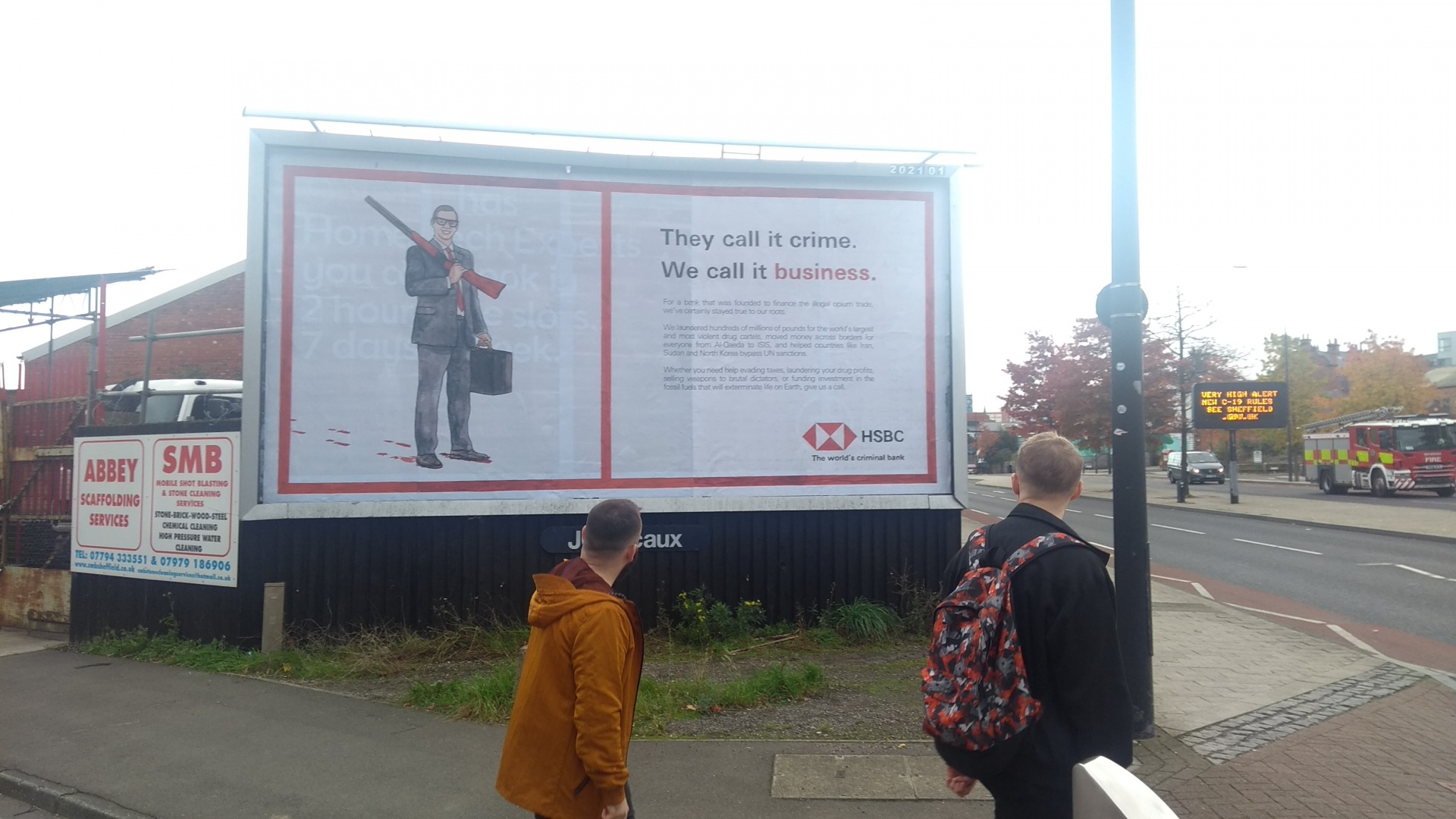 A guerilla billboard installation in Sheffield — artwork by Darren Cullen.