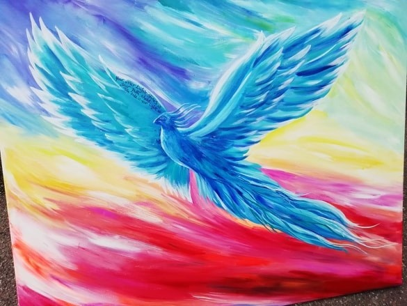A local artist's painting called 'Proud Phoenix Rising'