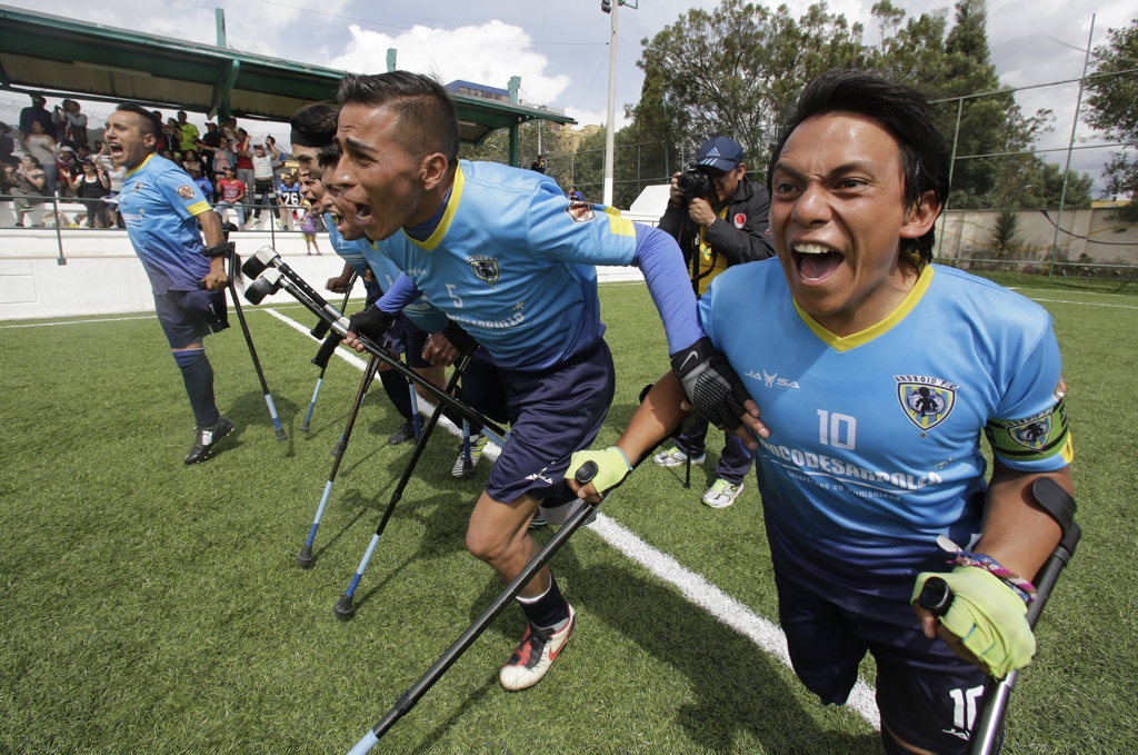 Android players celebrate winning the tournament in Quito, Ecuador. While the one-legged game is just taking off in Ecuador, it's getting a big boost from the country's president, Lenin Moreno