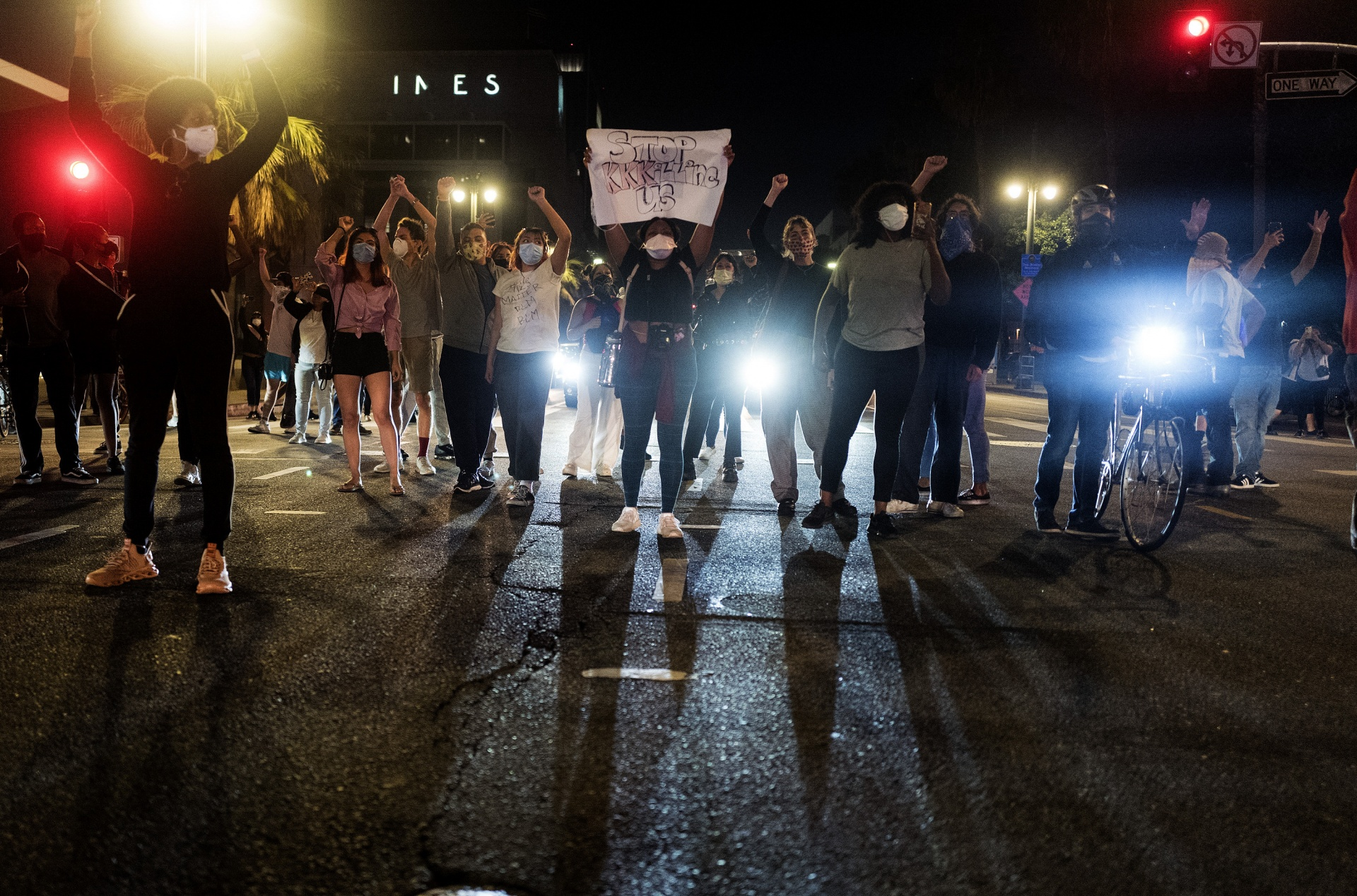 Demonstrators in Los Angeles block traffic during a protest