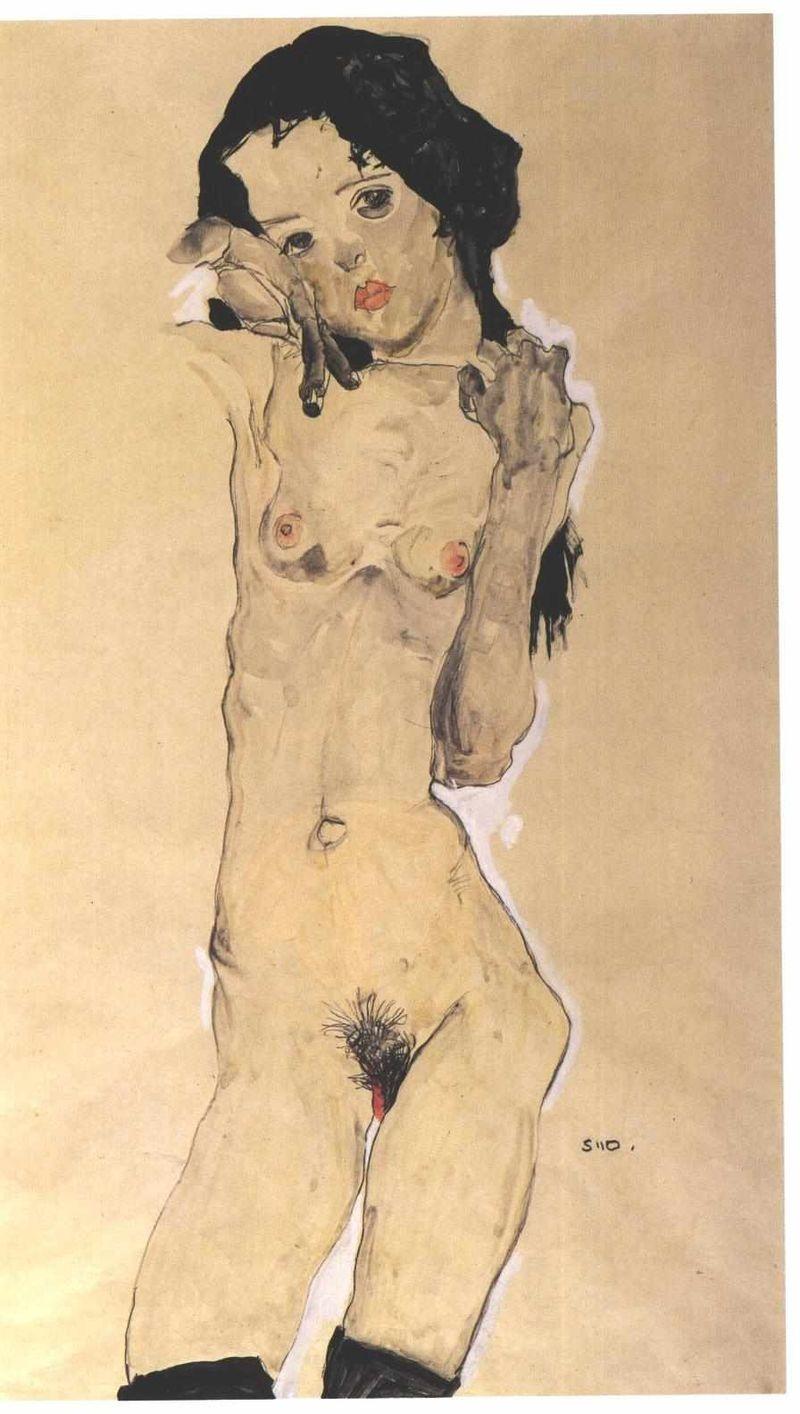Egon Schiele, Black-haired Nude Girl, 1910
