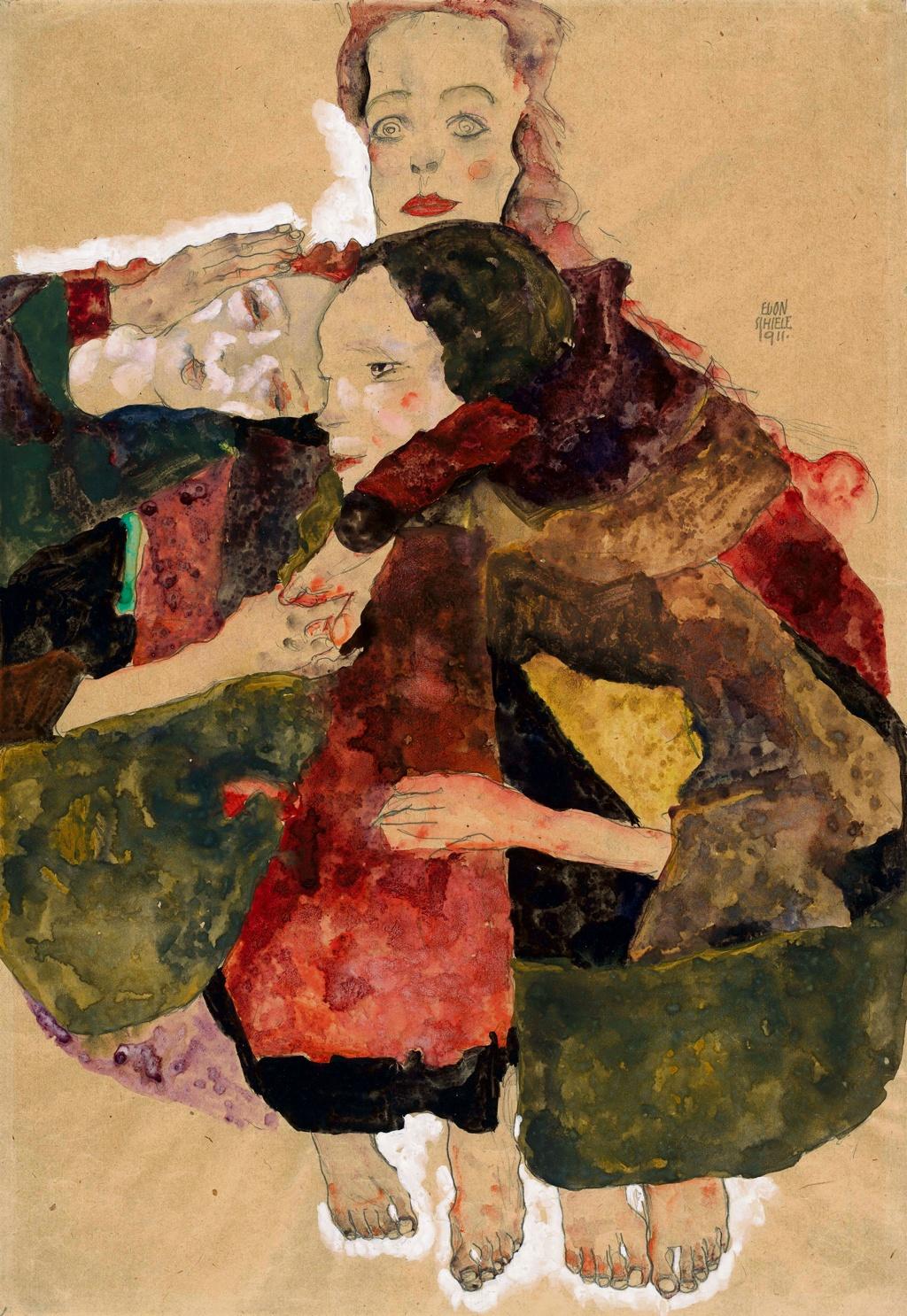 Egon Schiele, Group of Three Girls, 1911