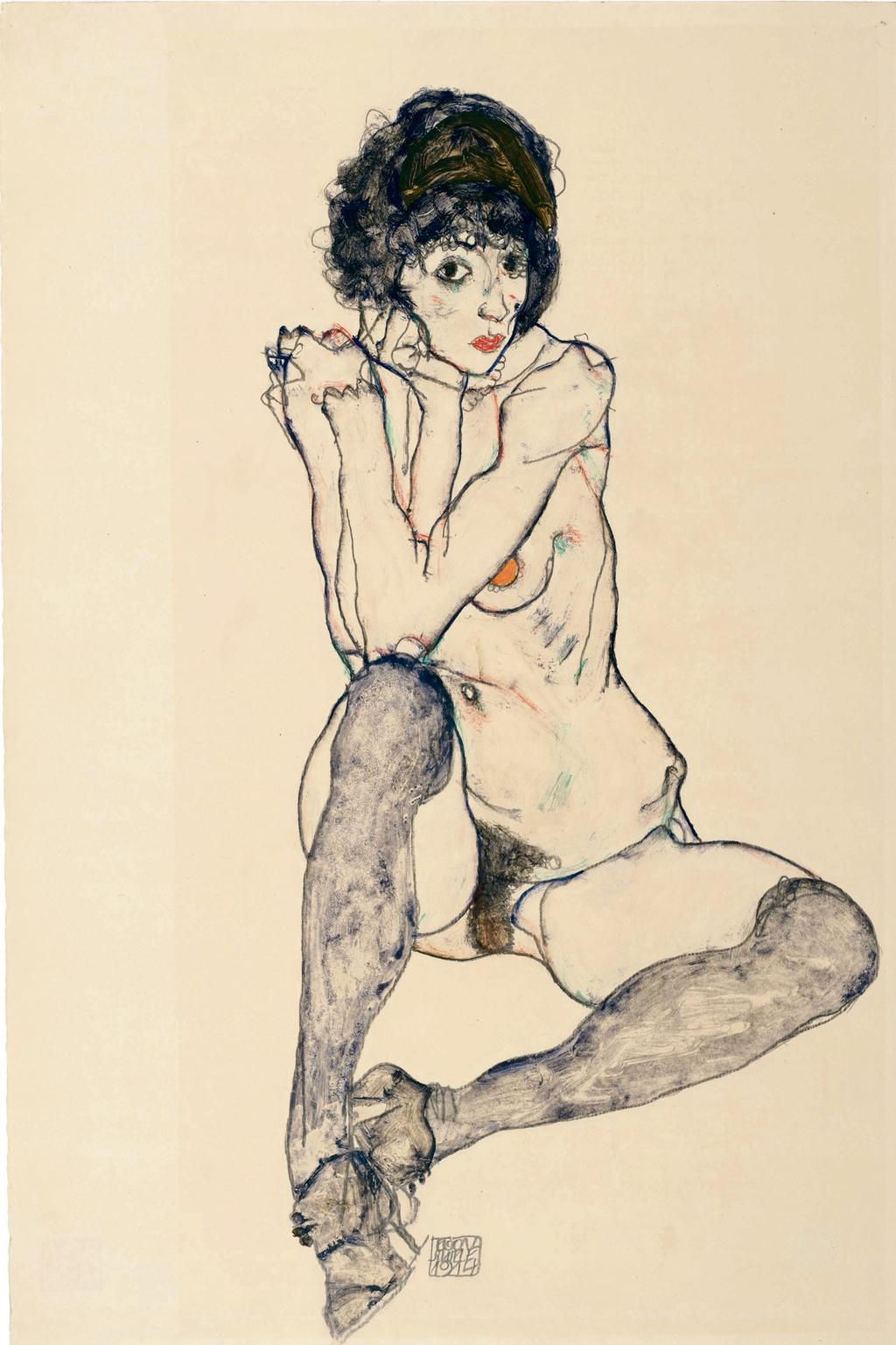 Egon Schiele, Seated Female Nude,1914