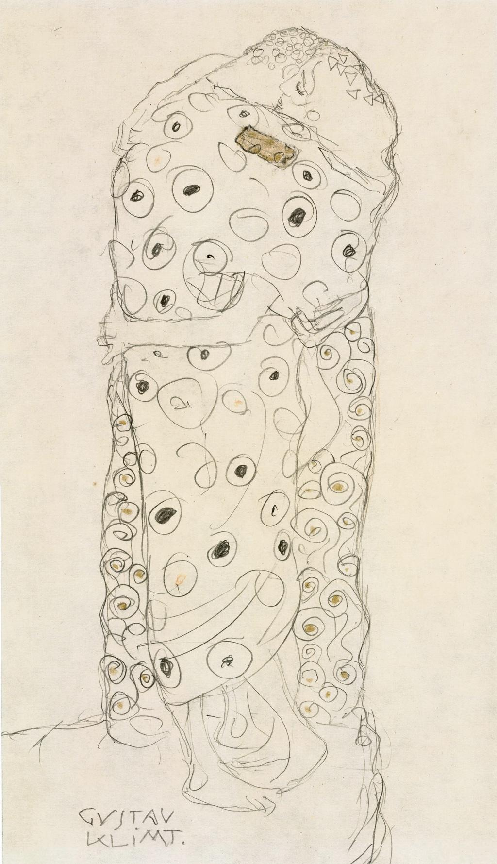 Gustav Klimt, Standing Lovers, 1907-08