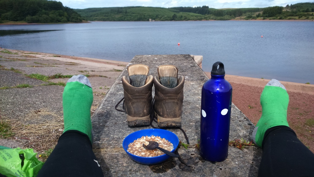 Boots off for breakfast by the Usk reservoir