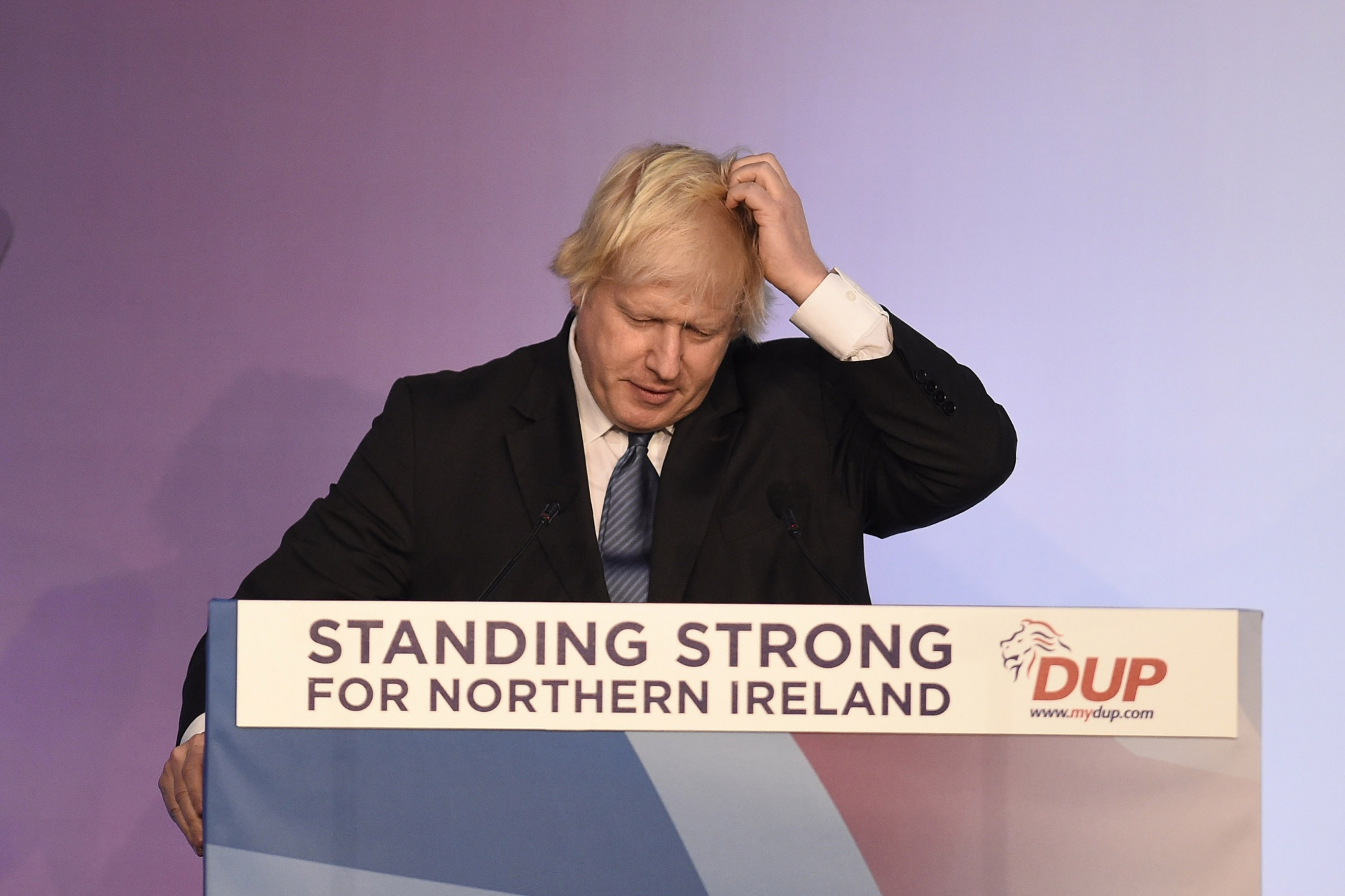Boris Johnson speaking during the DUP annual conference last year