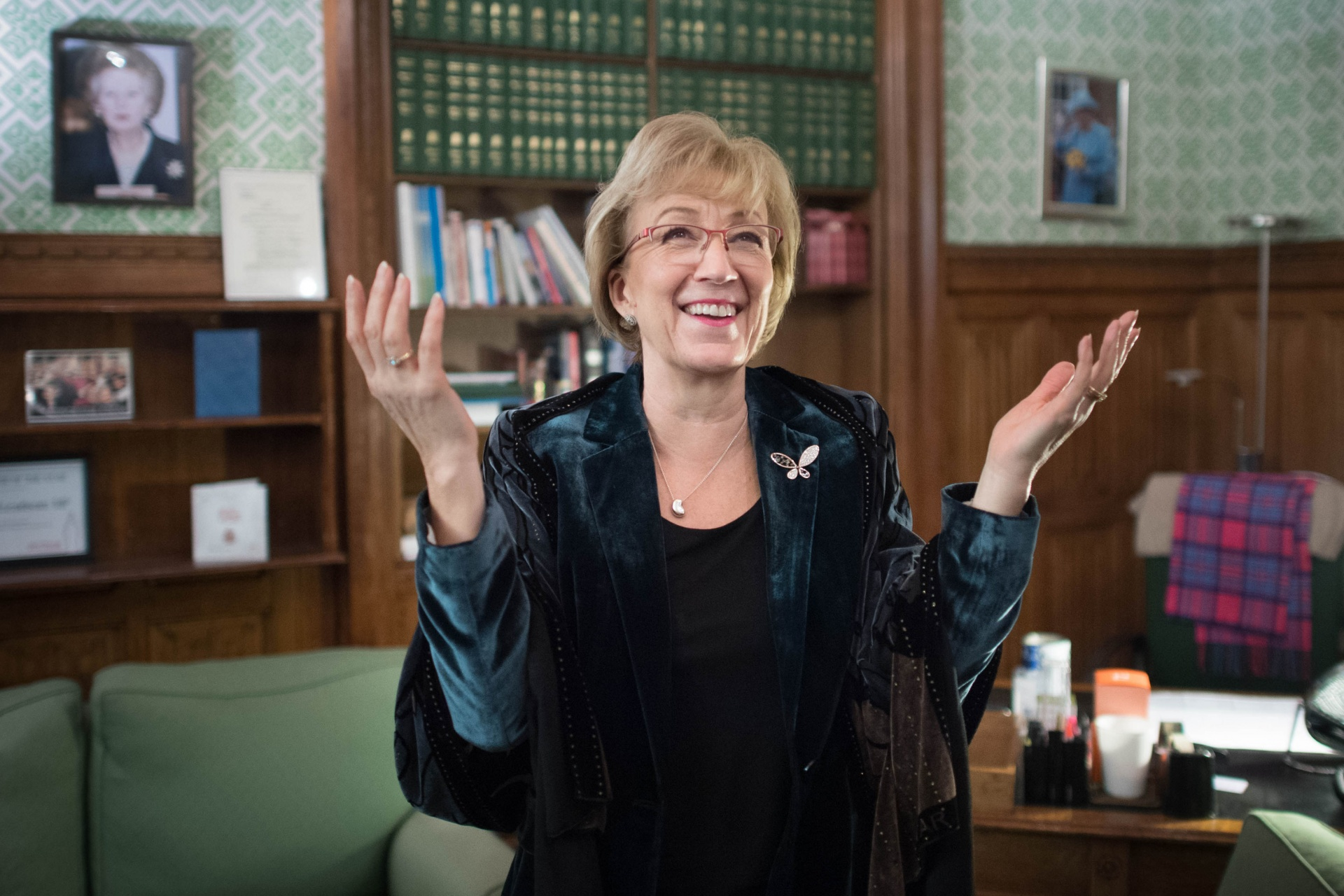 Andrea Leadsom in her office in the Houses of Parliament in February