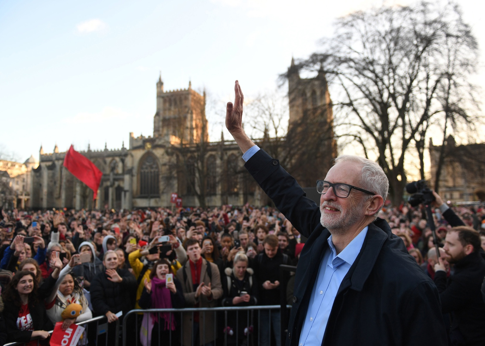 Jeremy Corbyn greets a massive crowd in Bristol before the general election this year