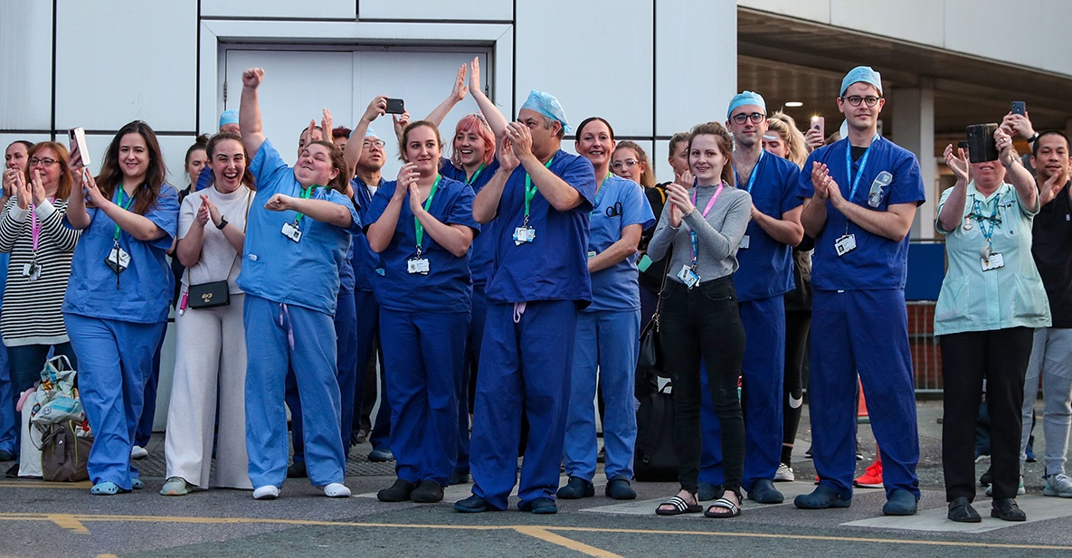NHS workers at Royal Liverpool University Hospital in July