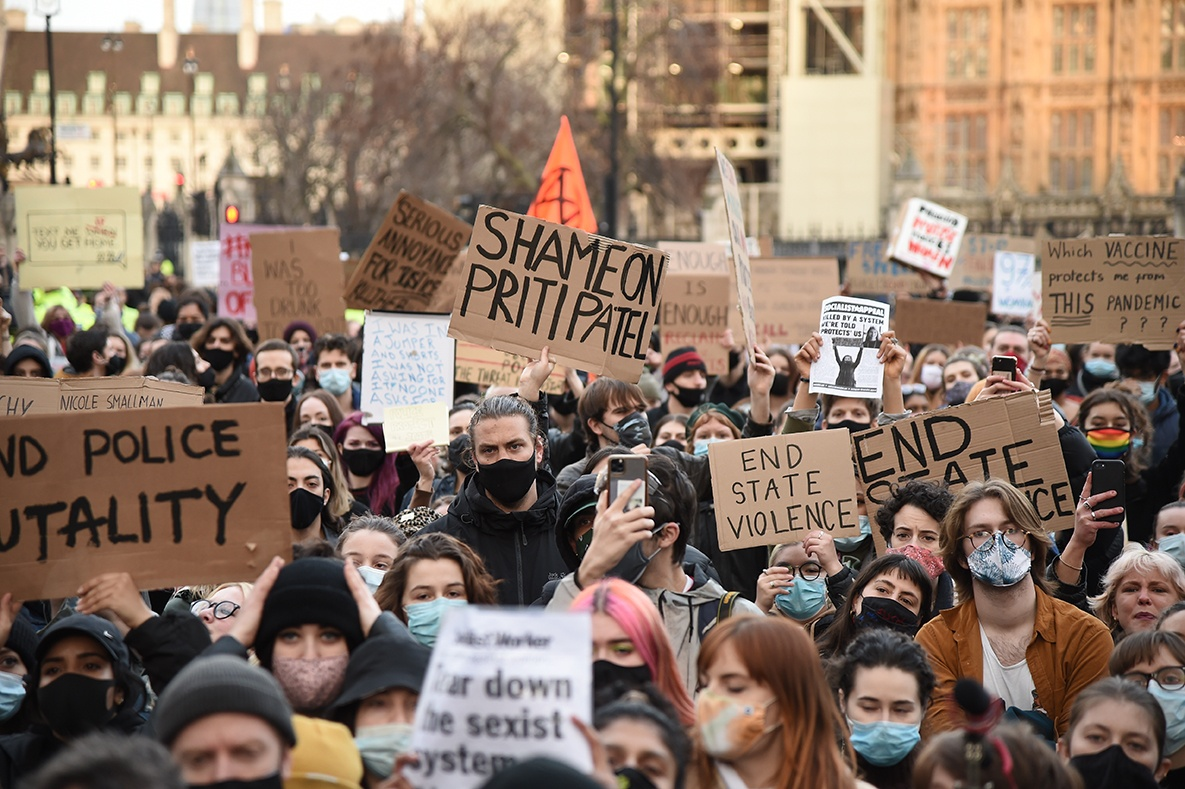 Demonstrators during a protest in Parliament Square, central London, in memory of Sarah Everard