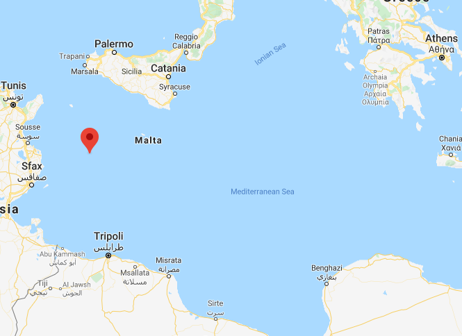 The red dot marks the position of the Italian island of Lampedusa in the central Mediterranean