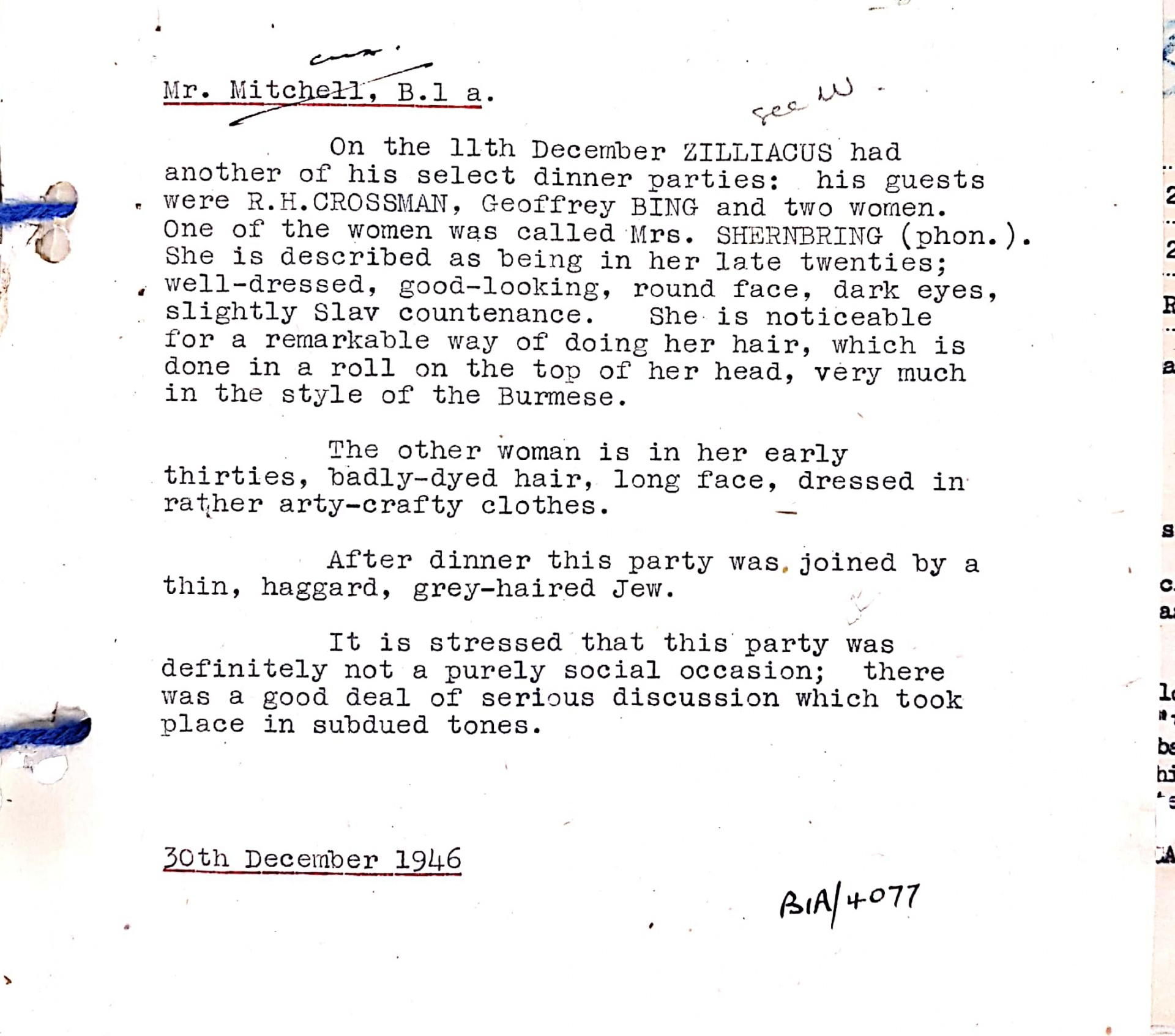 """MI5 spied on a dinner party held by Labour MP Konni Zilliacus in 1946. One guest was described as having """"badly-dyed hair, long face, dressed in rather arty-crafty clothes""""."""