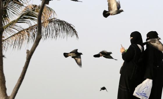 Saudi women film pigeons at a public garden in Jiddah
