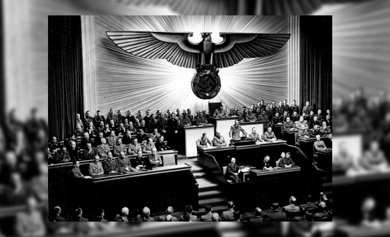 Hitler, announcing the declaration of war against the United States to the Reichstag, on 11 December 1941