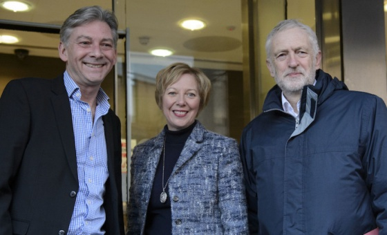 Scottish Labour leader Richard Leonard, shadow Scottish secretary Lesley Laird and Labour leader Jeremy Corbyn