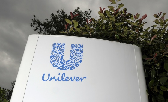 The Unilever logo on a sign
